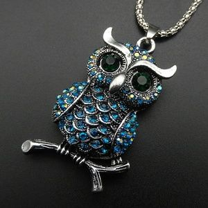 Blue Owl Pendant Betsy Johnson Necklace NWT